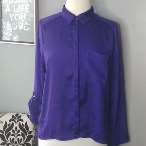 H&M sheer Indigo blouse size 8